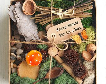 Fairy House Kit, Natural Fairy Garden DIY Gnome Home Nature All Natural Eco Friendly Gift