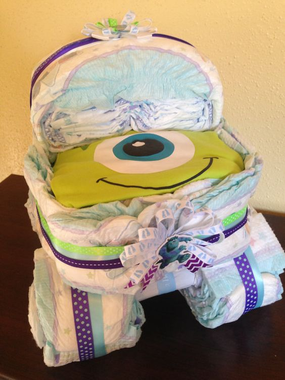 Monsters Inc Diaper Carriage/ Diaper Cake by BabyGuardians on Etsy