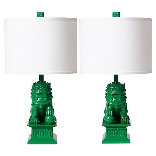 S 2 Foo Dog Table Lamps Kelly Green Dog Lamp Green Lamp Base Green Lamp
