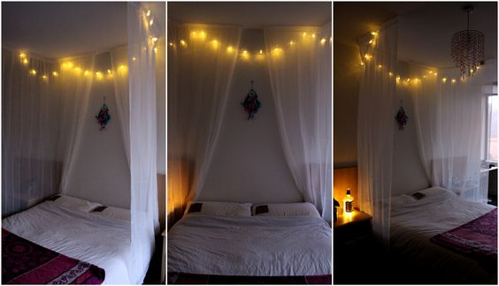Simple Bed Canopy - Made using ultra strong double sided tape, a pair of voile curtains & some pretty fairy lights ♥