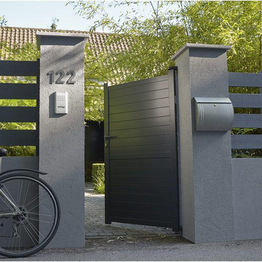 Portillon battant en aluminium gris anthracite jena for Portillon jardin gris