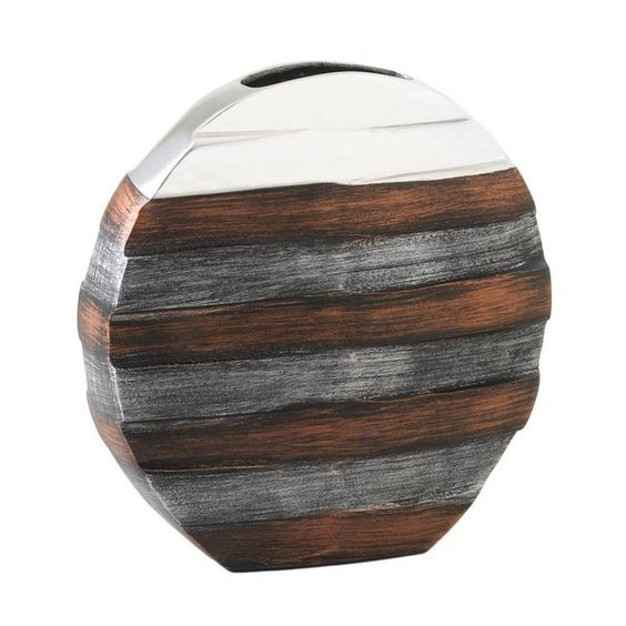 Matte metal with chestnut brown banding puts a modern spin on this decorative vase. Highlighted with sleek silver on top this piece of home decor art will intrigue your guests and enhance your living space. Commix Contemporary Vase by Rustica House. #myRustica