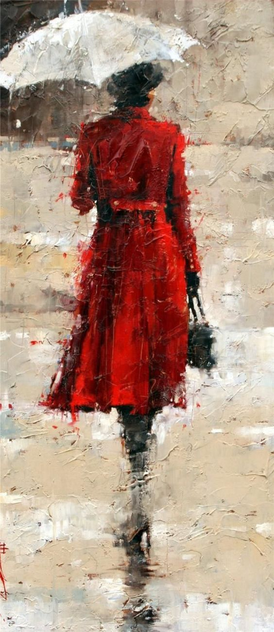 Woman in red coat under the rain - from Figurative Paintings by