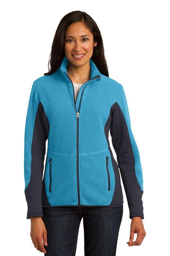 Port Authority Ladies R-Tek Pro Fleece Full-Zip Jacket. L227 Aqua Heather/ Battleship Grey