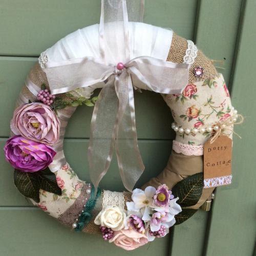 OOAK handmade burlap round wreath by DottyCottage1 on Etsy