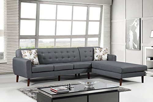 Us Pride Furniture S00129 R Paula Right Facing Sectional Tufted Back Grey Tufted Sectional Furniture Tufted Sectional Sofa