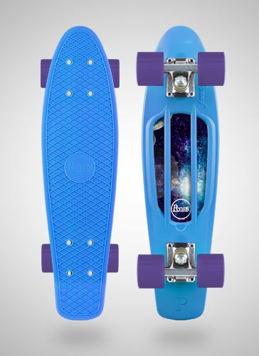 So cool. I love the galaxy stickers but different colors for the deck and the wheels.