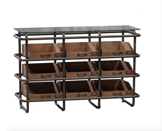 Elderflower Lane - Stylish Industrial Vintage Metal & Wood 9 Drawer Wide Shelf/Storage Unit