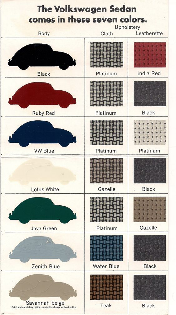 One thing we get a TON of emails about here at 1967beetle.com is color combinations. It seems everyone wants to know what the correct combo is for their vi