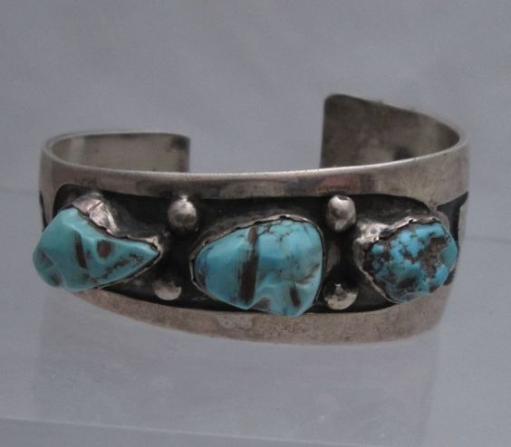 OLD ZUNI OVERLAY SILVER BRACELET with 3 CARVED TURQUOISE STONES, LEEKYA DEYUSE ?