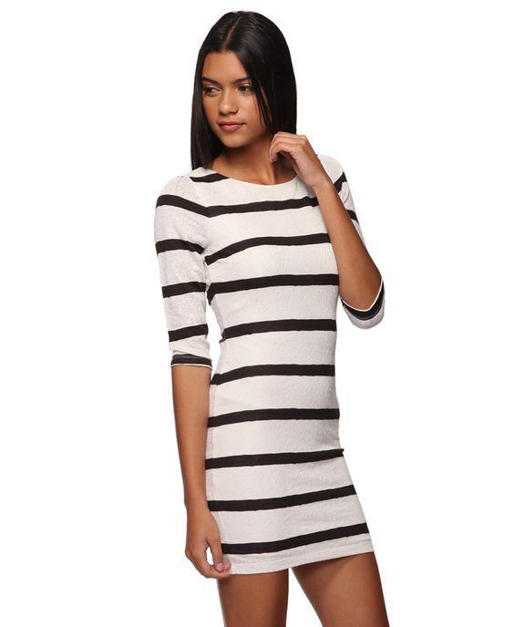 Cream and black striped dress