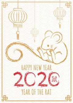 Happy Chinese New Year 2020 Year Of The Rat Hand Drawn Calligraphy Rat In 2020 Chinese New Year Card Chinese New Year Crafts Chinese New Year Decorations