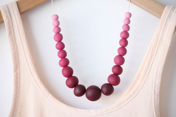 DIY Ombre Polymer Clay Beaded Necklace
