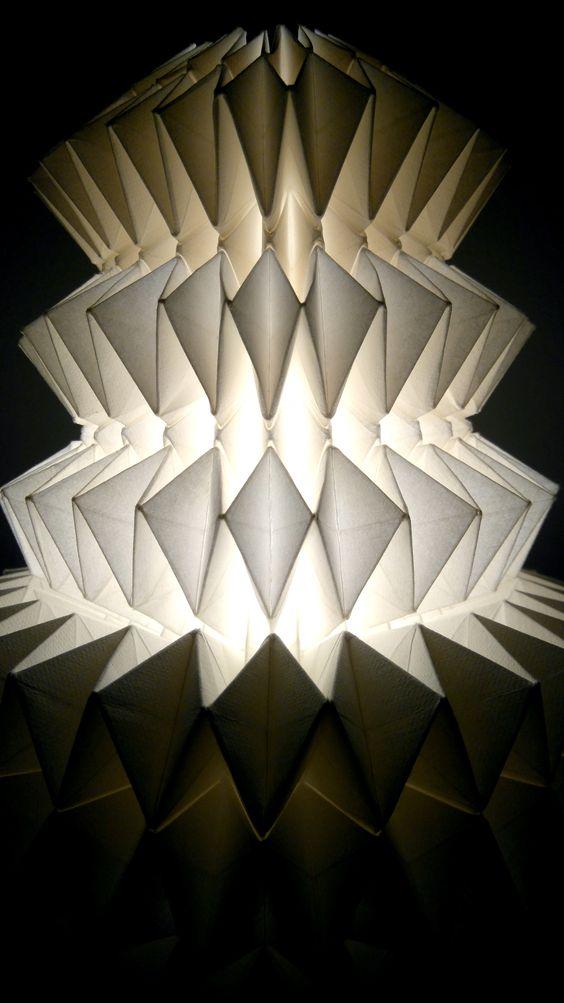 Interstellar Cloud, Origami Lamp Designed & folded by Vlatka Fric #origami #art #design #lamp #interstellar #paper