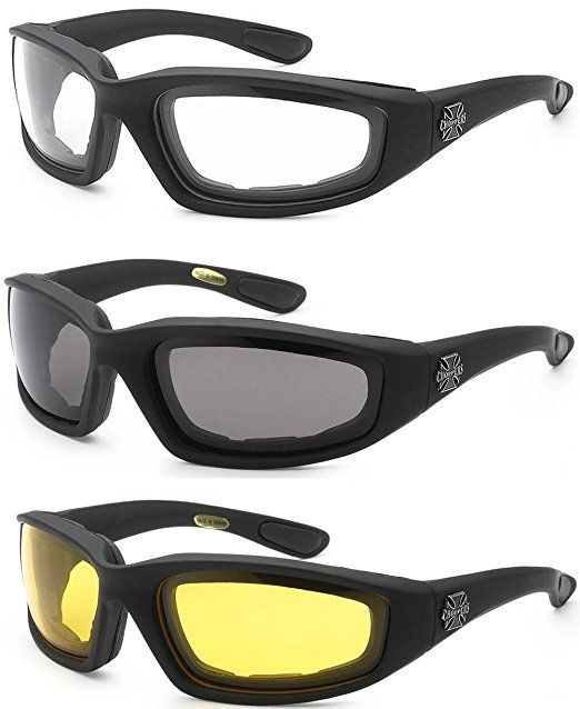 3 Pair Kids Power Sport Motorcycle Riding Glasses Smoke Clear Yellow Sunglasses