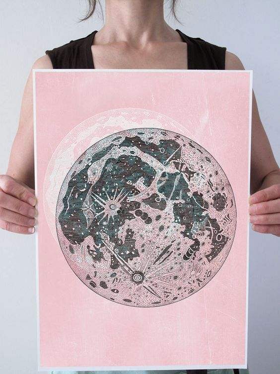BIG Full Moon Vintage Distressed Pale Shabby PINK Art Print Poster Grunge Chalkboard Antique Space Astronomy Lunar A3 11x16 or 13x19 by PatricianPrints on Etsy https://www.etsy.com/listing/181850982/big-full-moon-vintage-distressed-pale