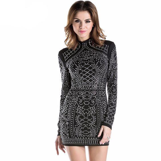 Geometric Retro Rhinestone Fitted Dress