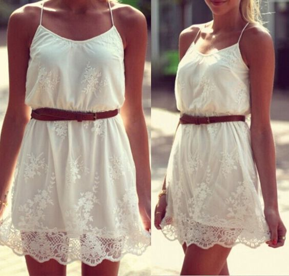 Barato Vestido de verão 2014 Lace flor branca alcinhas vestido feminino Plus Size curto festa na praia Vestidos casuais grátis frete, Compro Qualidade Vestidos diretamente de fornecedores da China:                                                2014 Botão de