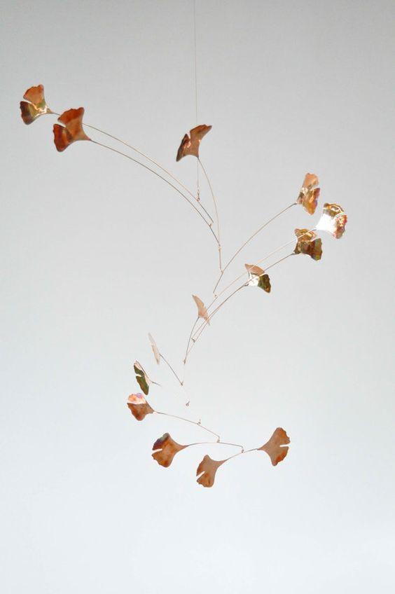 Copper Mobile Handmade Copper Mobile w Ginkgo Leaves: