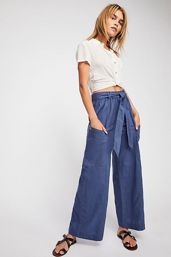 Slide View 1: Bluebell Belted Wide Leg Pants