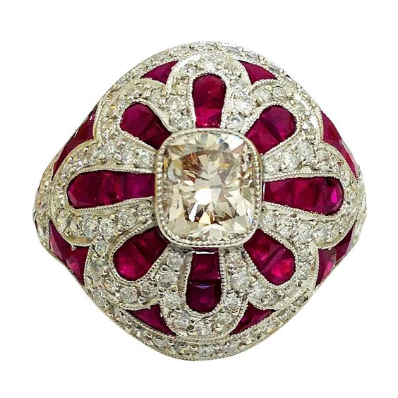 Ruby Diamond Platinum Ring   From a unique collection of vintage cocktail rings at http://www.1stdibs.com/jewelry/rings/cocktail-rings/