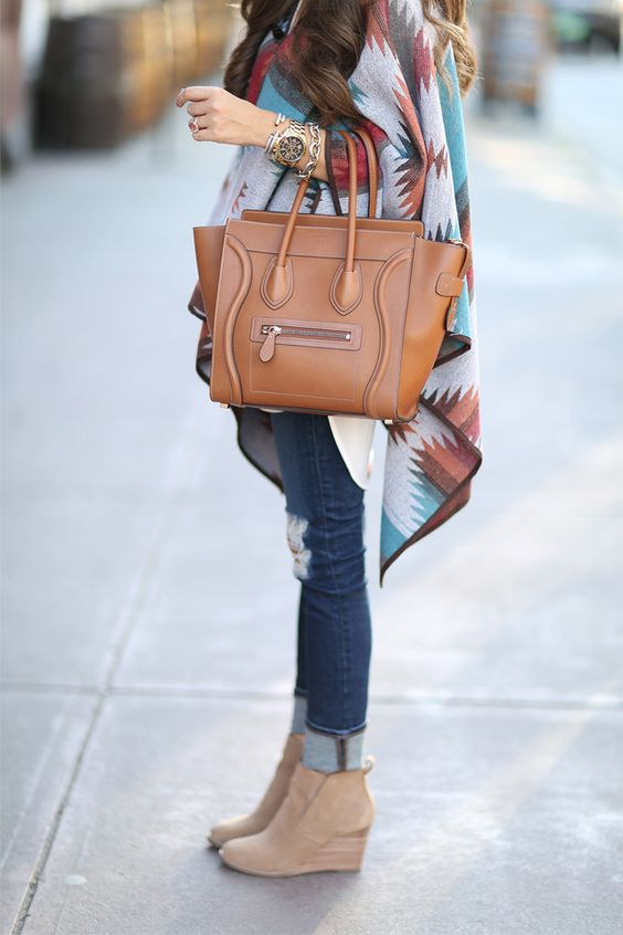 Southern Curls & Pearls: Aztec Cape and jeans for fall. Love the suede wedge booties as well!