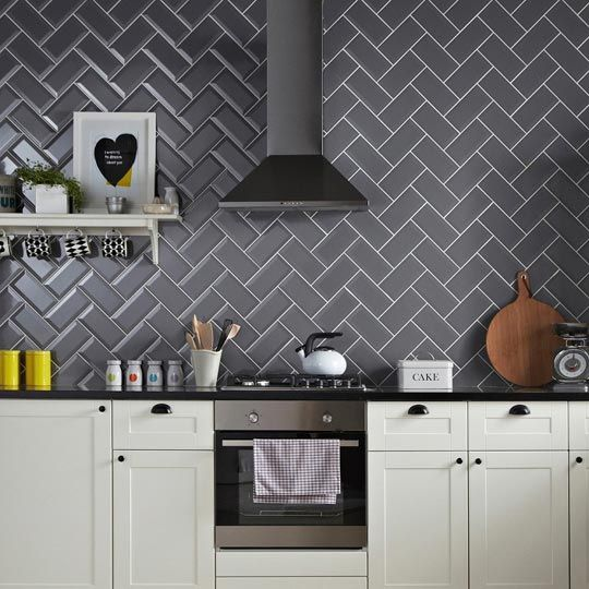 Grey herringbone tile pattern and patterns on pinterest - Kitchen without wall tiles ...