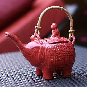 Novica Buddha and the Ruby Elephant Ceramic Teapot