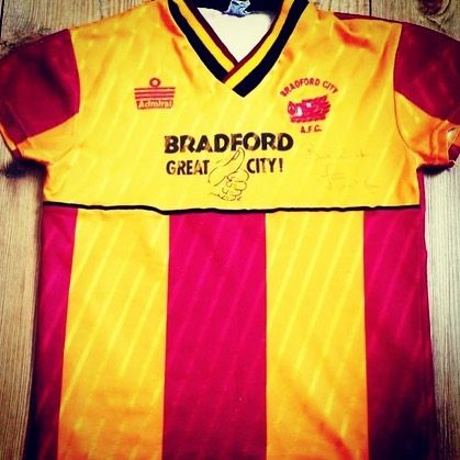 1987 Bradford City home shirt from @bantamsbanter - another winning admiral shirt. Read interview #getshirty #footballshirtcollective #bradfordcity #admiral