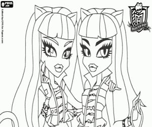 coloriage meowlody et purrsephone les filles jumelles d 39 un chat garous monster high. Black Bedroom Furniture Sets. Home Design Ideas