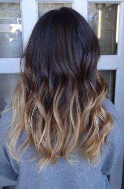 Dark brown to blonde dip dye