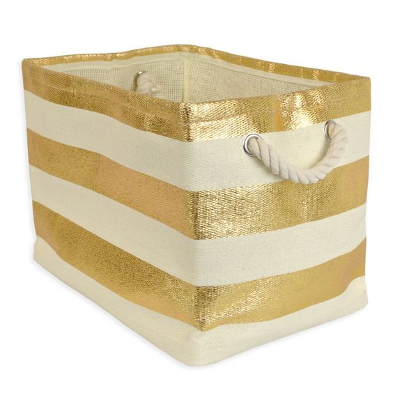 Woven Paper Collapsible Convenient Storage Bin Gold Stripe  // Small is 10.2 x 9.2 x 11 $22
