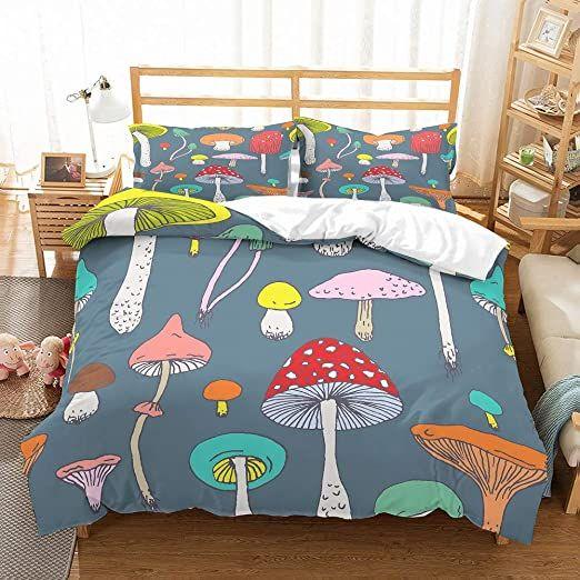 Patatino Mio 100 Microfiber Mushrooms Bedding Twin 3d Yellow Blue Orange Red Pink Mushrooms Bedspread Cartoon Duvet Cover Sets Duvet Bedding Sets Bed Spreads