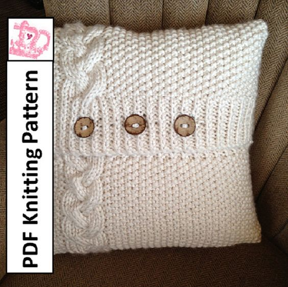 Pdf Knitting Pattern Braided Cable 20 X 20 Chunky Knit Pillow
