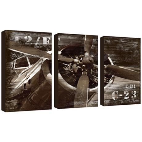 Vintage airplanes triptych and canvas wall art on pinterest - Vintage airplane triptych ...