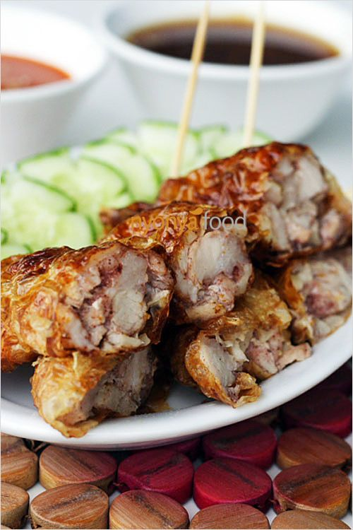 ... spice marinated pork wrapped with bean curd skin and deep-fried. So