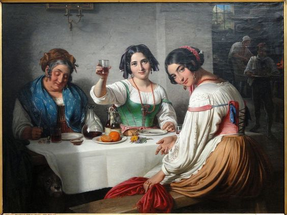 Wilhelm Nicolai Marstrand (24 December 1810 Copenhagen~ 25 March 1873, Denmark~Danish Golden Age, Romanticism)~ Italian Osteria Scene, ia