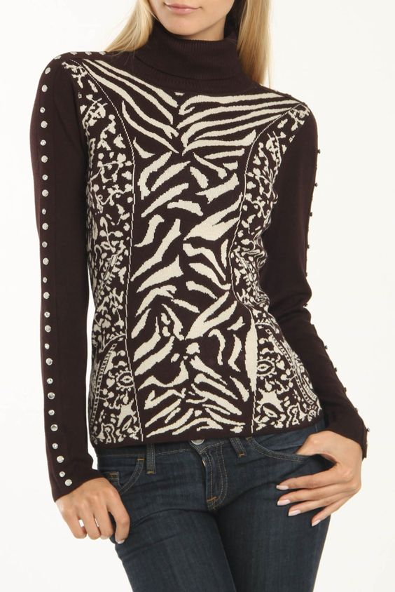 Yuka Paris Arielle Pullover In Brown And Beige - Beyond the Rack