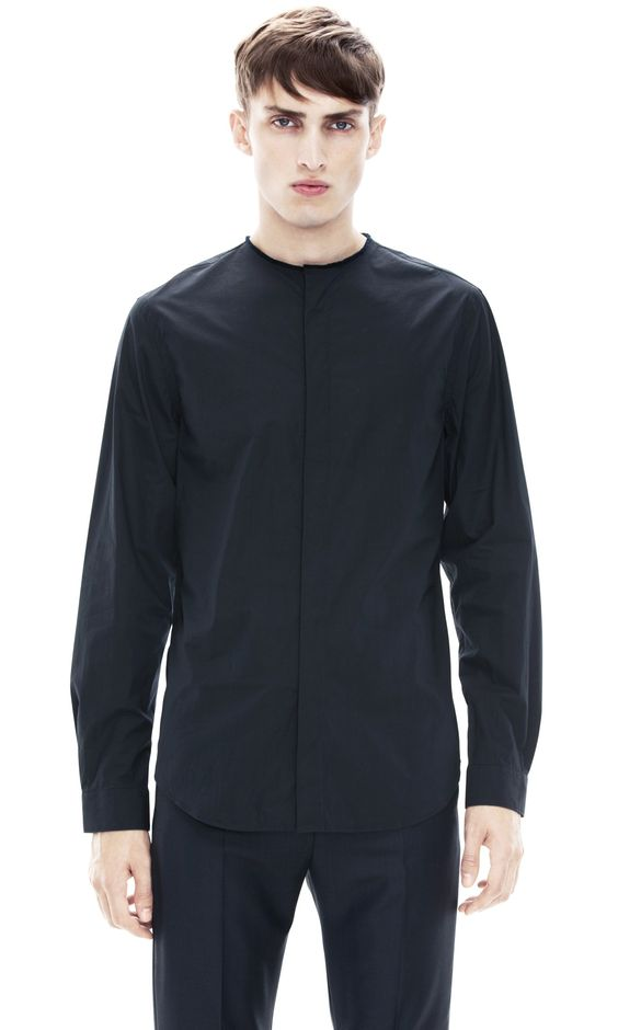 Mens Black Collarless Shirt