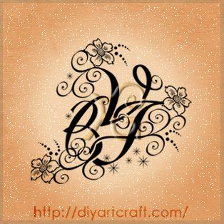 stylized letters VBJ #tattoo Instead do a script G and the 3 flowers rep the boys