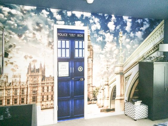 doctor who and london theme bedroom with a tardis vinyl