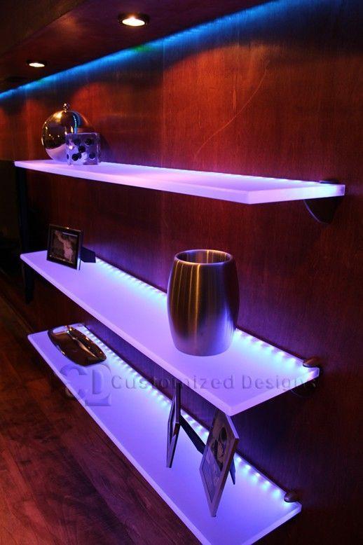 Led Lighted Floating Shelves Floatingshelvesbathroomsink Prateleira De Parede Prateleiras Banheiro Estante De Parede
