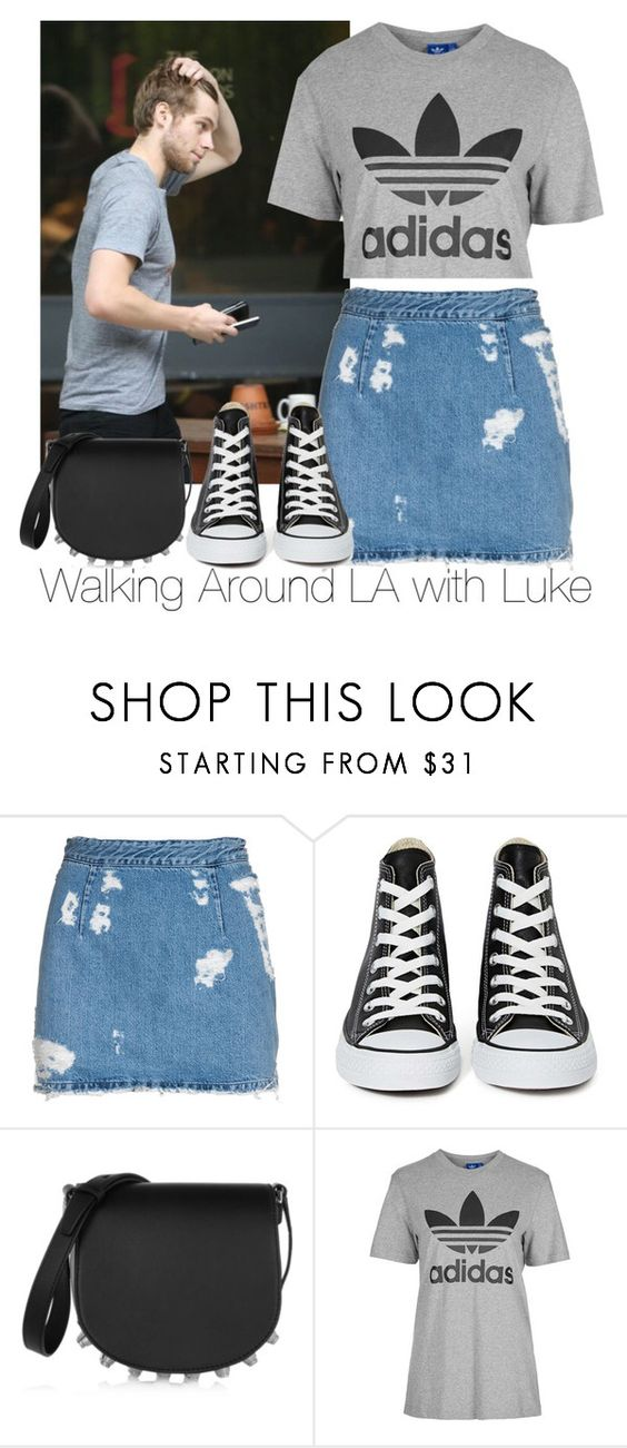 """""""Walking Around LA with Luke"""" by zarryalmighty ❤ liked on Polyvore featuring Acne Studios, Converse, Alexander Wang, adidas, women's clothing, women's fashion, women, female, woman and misses"""