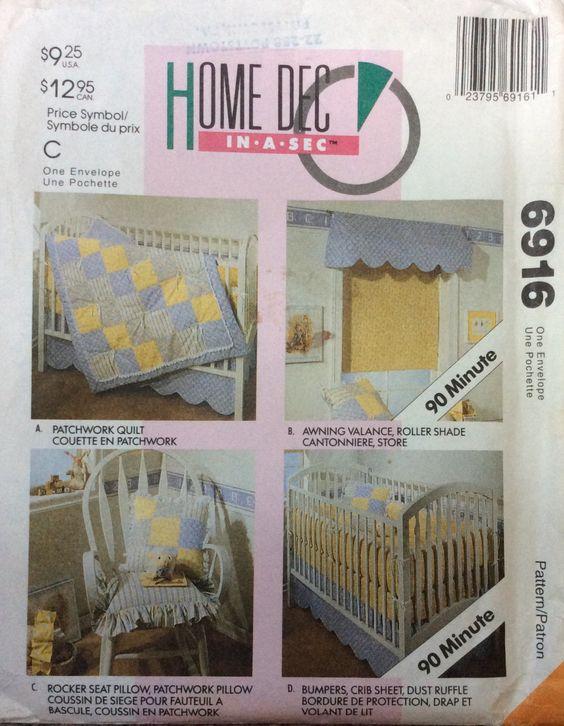 Butterick 6916 UNCUT Infant Bedding Essentials by Lonestarblondie on Etsy