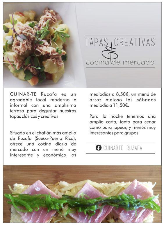 CUINAR-TE RUZAFA  Ensaladas, Carnes, Carpaccios, Tapas Gourmet en Ruzafa  (C/Puerto Rico, 15)   Imagen: FreeZia Studio para FreeRuzafa  www.freezia.es  www.freeruzafa.es