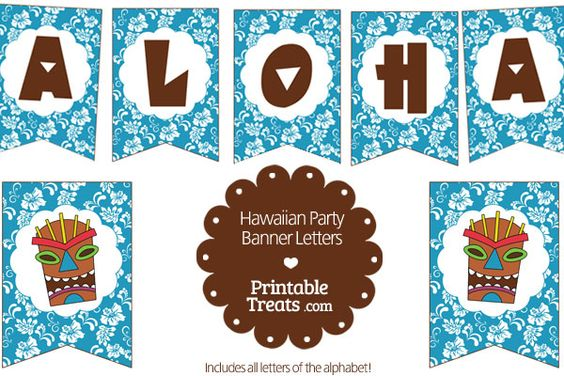 Tropical Themed Party Ideas Free Printables: Blue, Party Banners And Blue Hawaiian On Pinterest