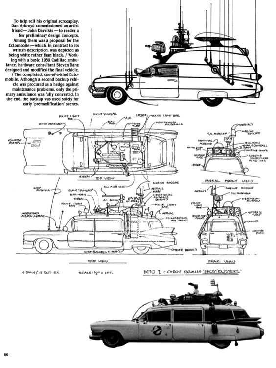 Original design concepts for Ecto-1 created by John Davelkis, commissioned by Dan Aykroyd for #Ghostbusters (1984)