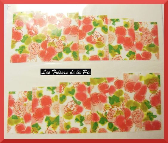 STICKERS ONGLES WATER DECAL (x10) - Nail art - Fleurs - Multicolore