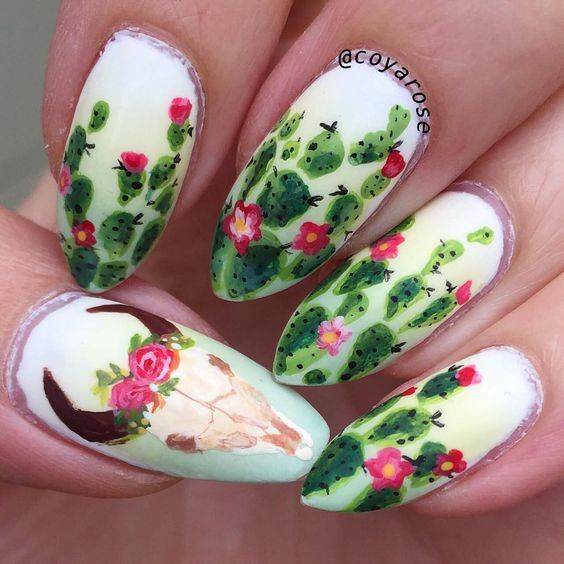 Hand painted nail art. Southwestern, cactus, western, longhorn, cow skull nails.