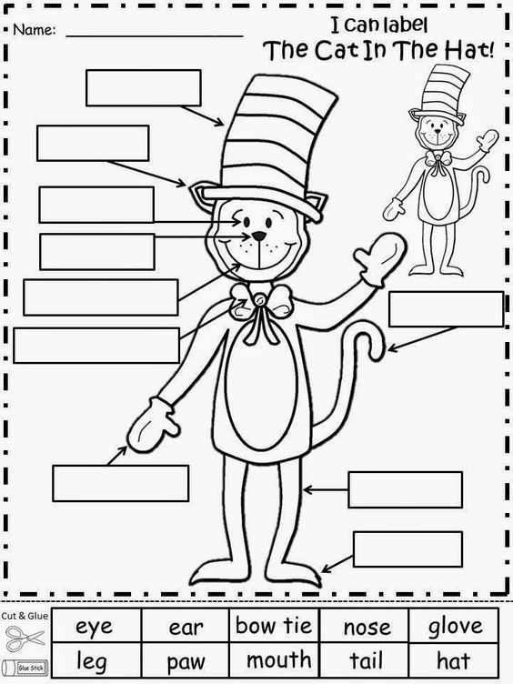 Worksheets The Cat In The Hat Worksheets free the cat in hat labeling activity cut and glue words